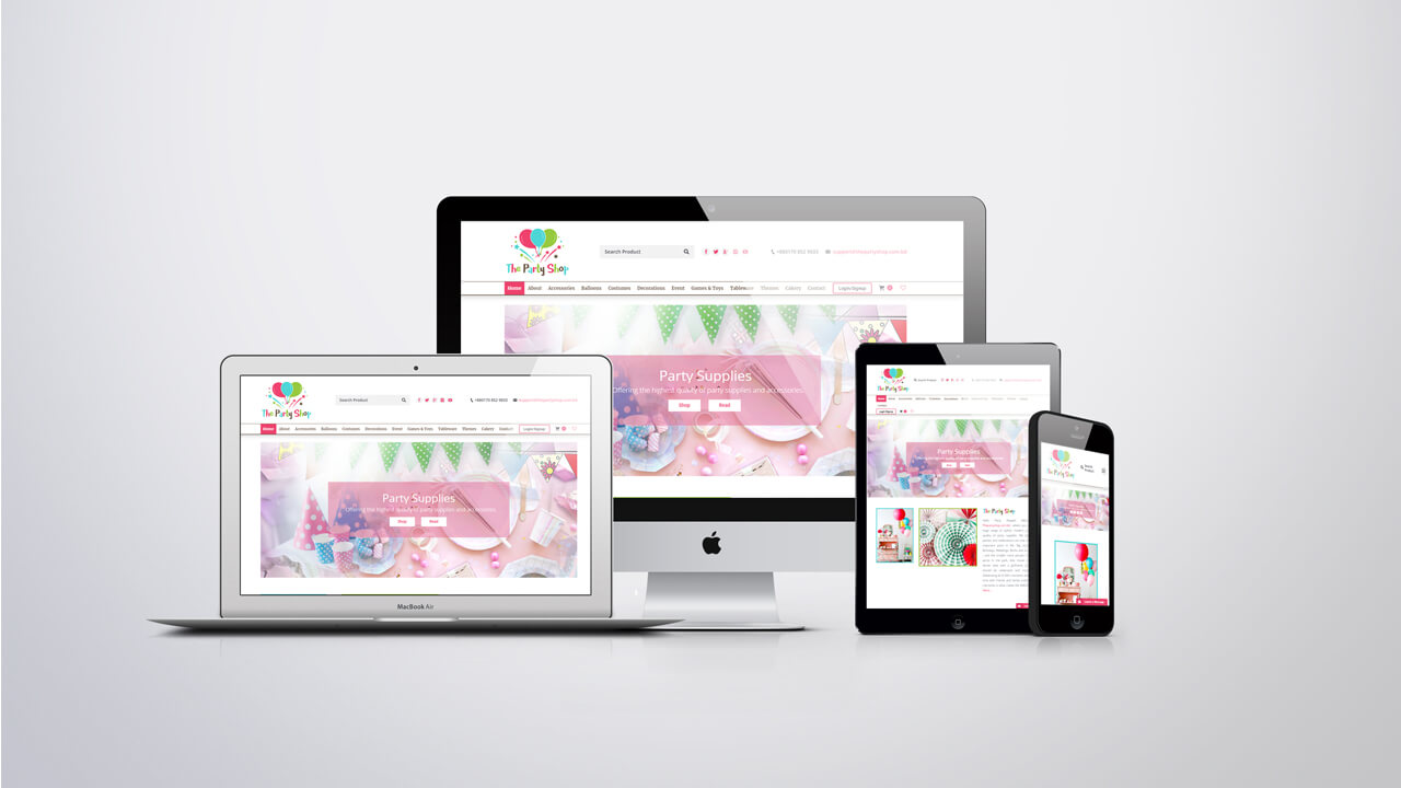 Website design of Party Shop Bangladesh